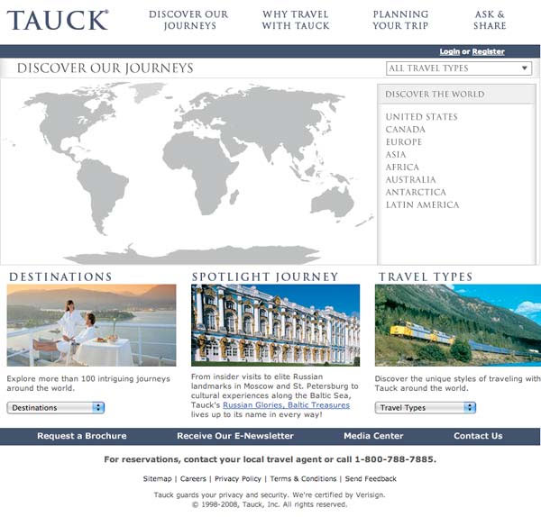 Tauck World Discovery Journeys Selection Tool